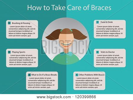 infographics named how to take cere of braces with little girl flat ilustration