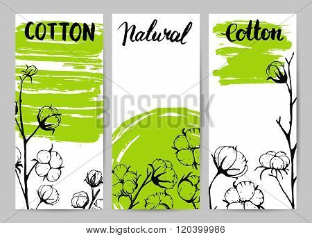 Set of template design cards with cotton