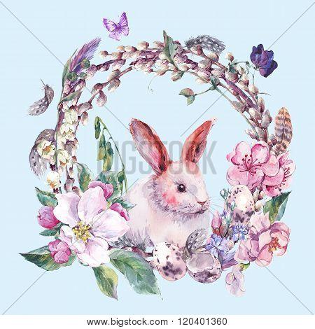 Watercolor spring Happy Easter wreath