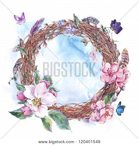 Watercolor spring wreath, bouquet with blossom apple tree