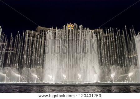 LAS VEGAS, NEVADA - FEBRUARY 5, 2015: The famous Bellagio Fountain Show on the Strip