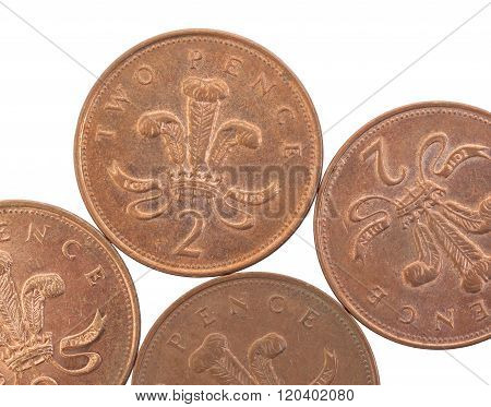 Two Pence Coins Isolated