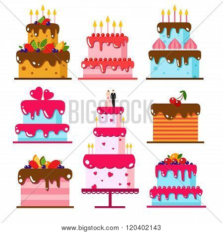 Vector color flat background with cake