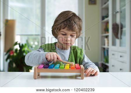 Little Boy Playing Xylohone