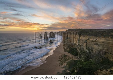 Spectacular view of the Twelve Apostles at sunset. Great Ocean Road, Victoria, Australia