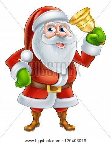 Cartoon Santa Ringing Bell