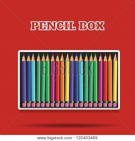 vector colored pencils in box on red background