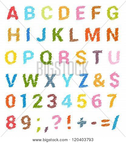 Sketched alphabet set. Lowercase letters and numbers. vector