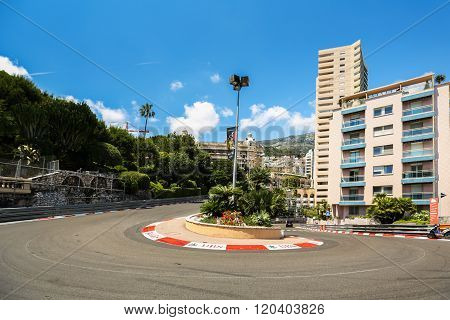 Monte Carlo Monaco - 02 June 2014. Circuit de Monaco is a street circuit laid out on the city streets of Monte Carlo and La Condamine around the harbour of the principality of Monaco