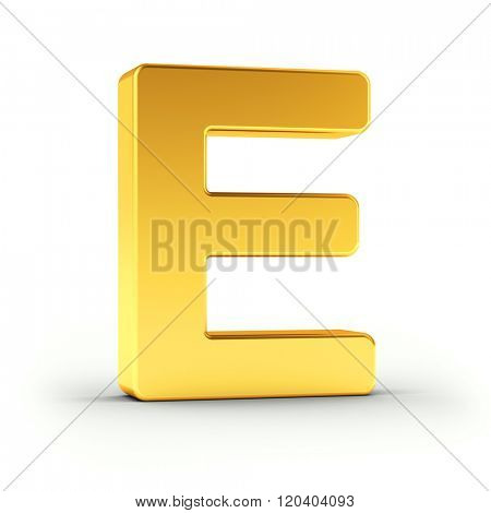 The Letter E as a polished golden object over white background with clipping path for quick and accurate isolation.