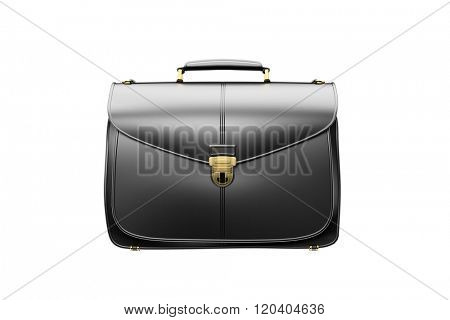 Closeup of fashionable leather briefcase  on white. Business concept