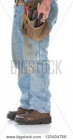 man wearing tool belt isolated on white background