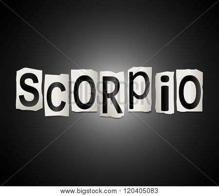 Scorpio Word Concept.