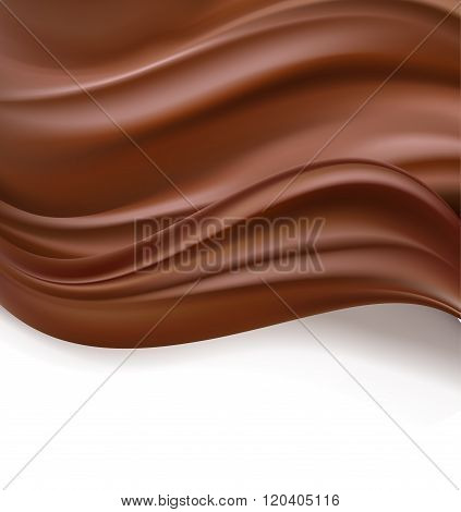 abstract chocolate creamy waves on white. vector