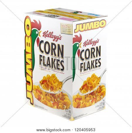 MONTREAL CANADA - MARCH 3 2016 - Kellogg's Jumbo Corn Flakes. Developed at Battle Creek Sanitarium in Michigan by Dr. John Kellogg in 1894.