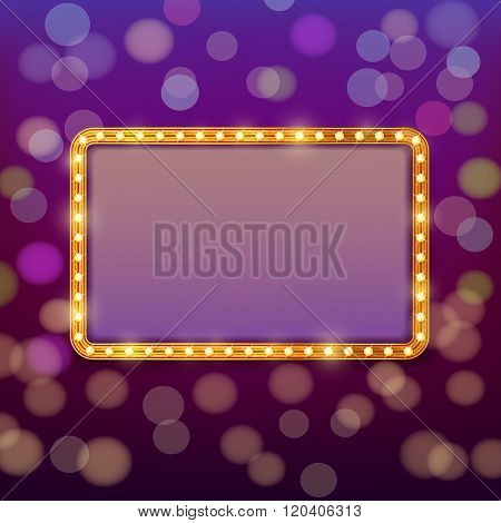 Golden frame with light bulbs on blurry fairy tale background