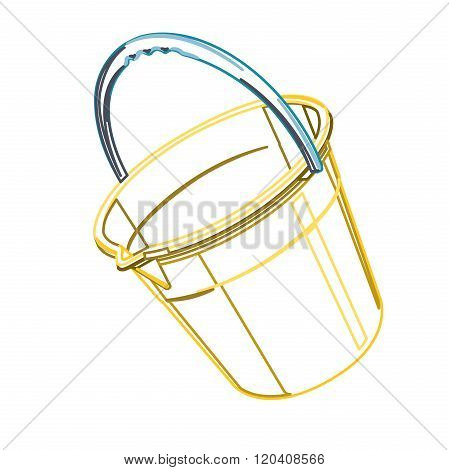Plastic bucket on white, outline classical blue yellow orange bucket.