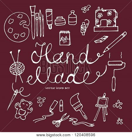 vector hand drawn icons of hand made tools