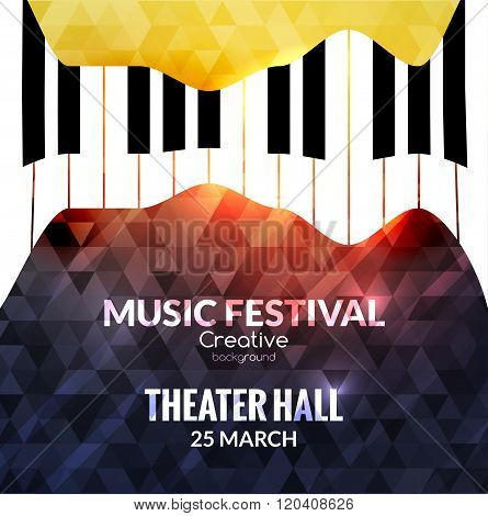 Music festival poster background. Jazz piano music cafe promotional poster