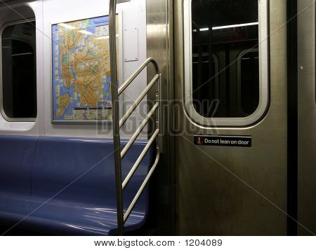 Interior Of Empty Subway Car With Map In New York City