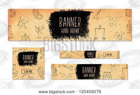 Web Banners For Websites 4 Different Sizes In Retro Style Hand Drawn. Chemistry, Biology, Pharmaceut
