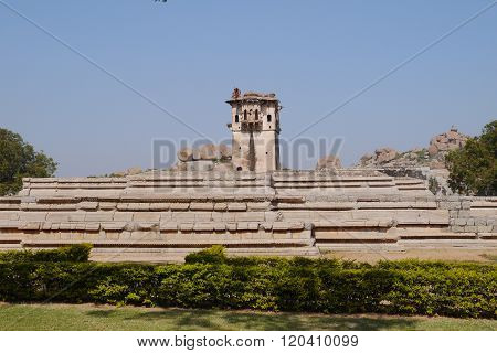 ruins of the royal palace and watchtower in Hampi