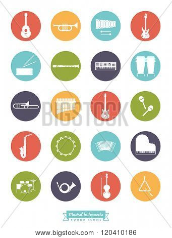 Musical Instruments Round Vector Icon Set. Collection Of 20 Musical Instruments Symbols, negative in colored circles