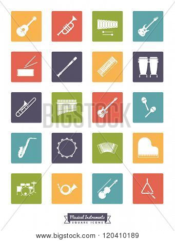 Musical instruments square silhouette icon set. Collection Of 20 Musical Instruments Glyphs in colored rounded squares
