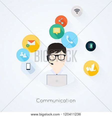 Business Customer Care Service Concept Flat Icons Set Of Contact Us Support Help Desk Phone Call And
