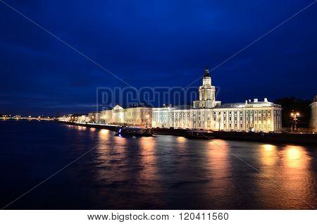 Night view on Saint-Petersburg embankment. al View On Saint-petersburg Embankment At Dusk