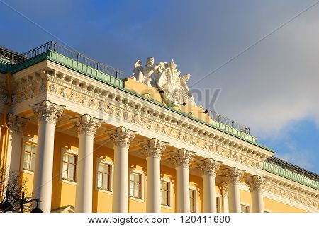 Beautiful late classicism style building in the historical centre of  Saint Petersburg.
