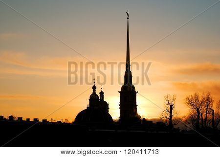 Peter and Paul Fortress in Saint Petersburg at sunset.