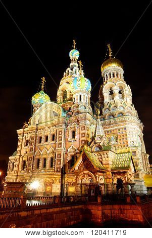 Night view of orthodox Church of the Savior on Blood in Saint Petersburg