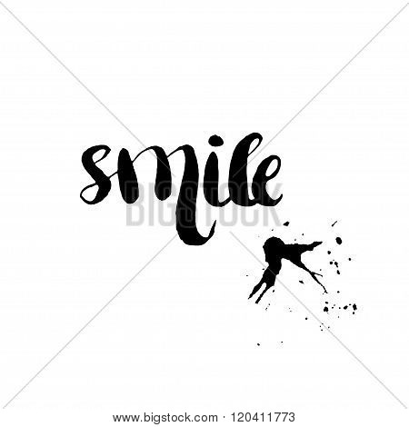 Stencil Lettering Quotes Smile Isolated On A White Background. Vector