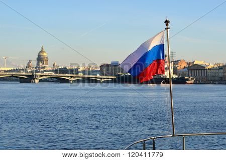 General View On Saint Petersburg Embankment And Russian Flag