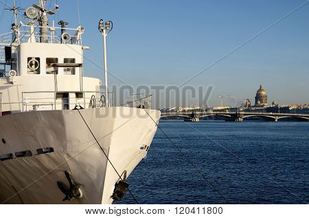 General view of Saint Petersburg embankment, Neva river and a white ship