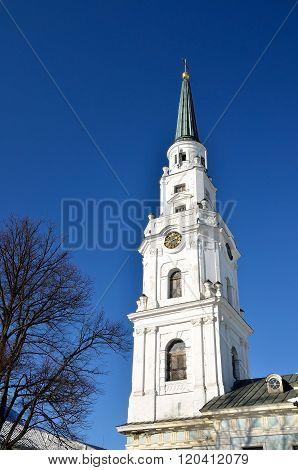 White lutheran church building in Riga, Latvia