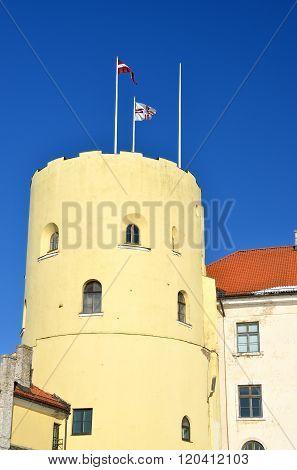 President's Castle tower over clear blue sky. Landmark of Riga, Latvia.