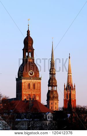View of three landmark churches of Riga