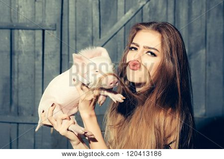 Funny Woman With Pig