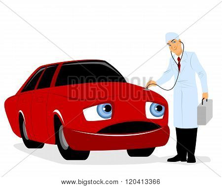 Doctor Inspects A Car