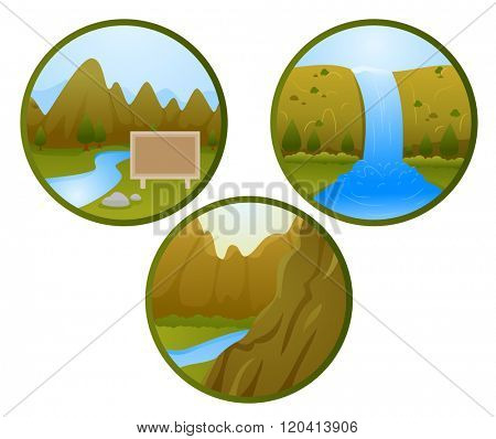 Icon Illustrations of Different Land and Water Features