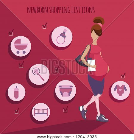 vector illustration of pregnant woman and newborn icons set
