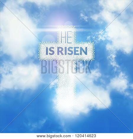 Easter christian celebration He is risen vector background
