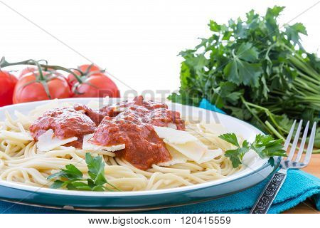 Spaghetti With Red Sauce And Parsley