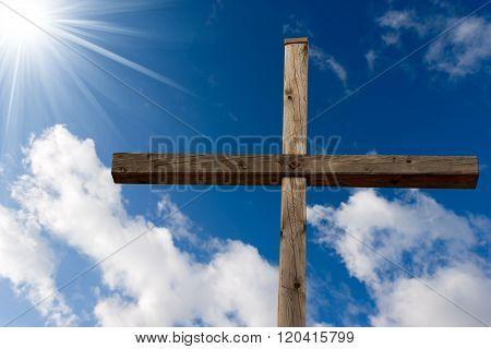 Christian Cross Against A Blue Sky