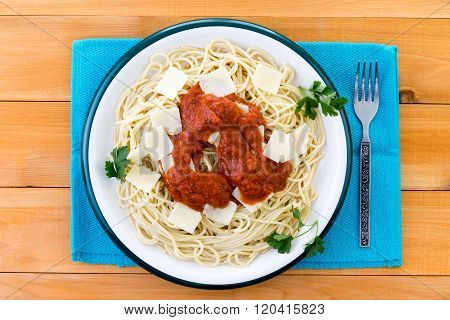 Top Down View On Plate Of Spaghetti