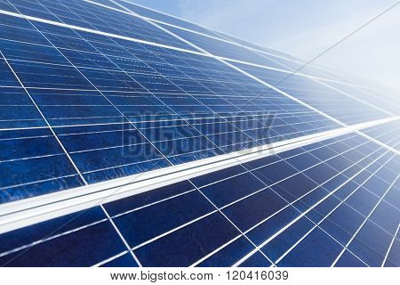 Solar panel for generator electricity with blue sky