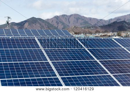 Solar energy plant in countryside