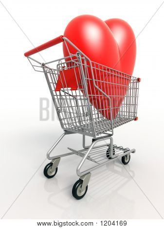 3D Heart In Shopping Cart